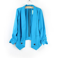 Fashion Women Ladies long Sleeve  Peplum Slim Fit Casual r Career Top Blazer Jacket Cardigan S M L blue Free Shipping