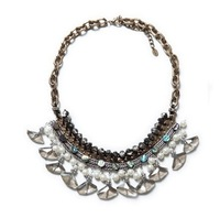 Fashion trendy popular elegant crystal glass pearls rhinestone pendant choker necklace for women length 45cm