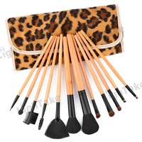 12pcs New Professional Ghoat Hair Makeup Brushes Set in Leopard Brush Bag Fashion Cosmetic Brush