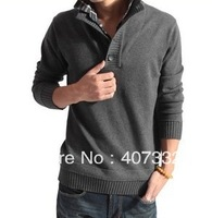 male sweater stand collar outerwear faux two piece men's sweater men's clothing crochet pullover spring drop shipping