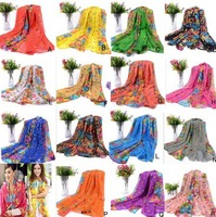Women 2013 Printe Flower Shawls Fashion Long Spring/Winter Muslim Scarves/Scarf 60*160cm [HDS0005*6]