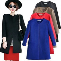 2014 spring  women wool coat  black  blue red khaki  woolen overcoat  with round collar 4 colors full size