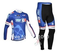 Free shipping!2013 FDJ fr blue team winter cycling wear/long sleeve thermal fleece cycling jersey and pants set/bicycle clothes
