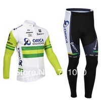 Free shipping!2013 greenedge orica winter cycling wear/long sleeve thermal fleece cycling jersey and pants set/bicycle clothes