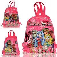 New !!!12PCS Monsters girls high school Non-woven fabrics Kid's School bag,Cartoon Drawstring Backpack Bags,girls all love them!