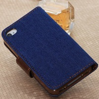 New Hot Cowboy Series Denim Fabric+Top Luxury Leather Flip Wallet Stand Magnet Buckle Case For Iphone 4 Free Shipping