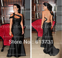 2013 New Arrival Vestidos De Fiesta Black Taffeta Mermaid Evening Dresses Nude Back Sequined Prom Gowns Long BO3237