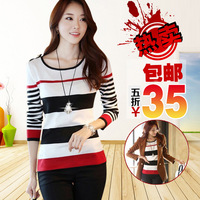 2013 autumn and winter women t-shirt slim stripe long-sleeve basic shirt o-neck knitted sweater