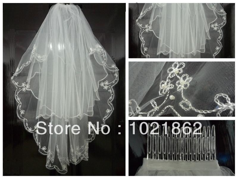 Nouveau 2t blanc, coudièresadopter edge perles perles de broderie voile de mariée mariage +comb al0136