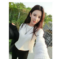 Women's fashion autumn loose long-sleeve sweater top short design sweater basic shirt