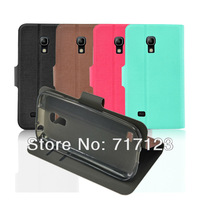 Luxury Flip PU Leather Case Cover For Samsung Galaxy S4 Mini i9190 Card Slot & Stand Holder High Quality 10pcs/lot Mix Color