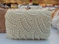 Free Shipping New Custom Women Pearl Clutch Silver Chain Crystal Evening Bag Party Wedding Handbag Purse