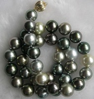 New Fine Pearls Jewelry stunning 10-11mm tahitian multicolor pearl necklace 20inch