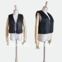 Womens Ladies Black/White Faux Mink Fur Body Warmer Furry Vest Waistcoat Gilet Sleeveless Tops Outwear Jacket Trendy Retro New