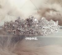 Free Shipping Extravagant Princess Wedding Tiara Silver Crystal Austrian Rhinestone Bridal Crown Hair Jewelry