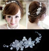 Free Shipping Fashion Floral Pearl Rhinestone Bridal Headband Wedding Bridal Hair Accessories