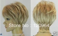 New short blonde mixed women's cosplay hair full wig/wigs