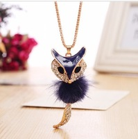 Plush fox with diamond necklace crystal long necklace  Sweater chain free shipping
