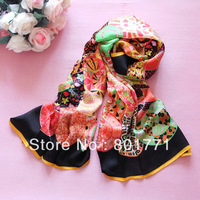 New arrival ! Fashion Snail Printing 100% mulberry silk scarf  women's Shawl Scarf designer pure silk scarves & wraps WJ1126