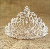 Free Shipping Fashion Princess Wedding Tiara Silver Crystal Rhinestone Bridal Crown