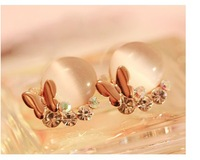 free shipping Fashion korea stely  butterfly bright opal stud earrings for women  wholesale
