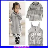Wholesale  cute little lady gray striped vest dress strap dress shirt suit * 2 sets ly001