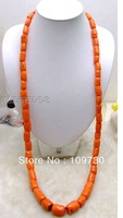 """Jewelry 0011937 SALE long 36"""" Graduate 10-18mm GENUINE natural knurl Pink Coral Necklace"""
