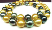 "New Fine Pearls Jewelry noble south sea huge 10-12mm gold black pearl necklace 18""14k YG"