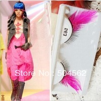 pink side long big eye  color a pair party exaggerated false eyelashes feathers Super brand new