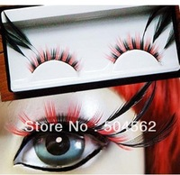 red and black long  color a pair party exaggerated false eyelashes feathers Super brand new