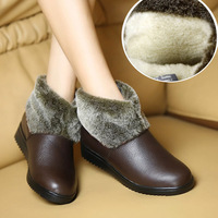 Genuine leather quinquagenarian female cotton-padded shoes flat heel ankle boots cotton-padded shoes berber fleece
