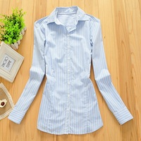 Free Shipping A-14 spring and autumn stretch cotton long-sleeve shirt slim OL outfit stripe shirt female plus size