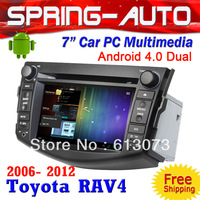 "FREE SHIPPING 2 Din 7"" Android 4.0 Dual Car PC Multimedia A10 1G CPU 1G RAM 3G Wifi BT Ipod TV AUX For Toyota RAV4 2006-2012"