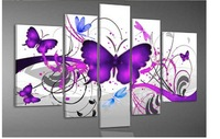 Modern Abstract Purple Color Heart Love Butterfly Oil Painting On Canvas 5 Piece Sets Wall Art Home Decor picture frames