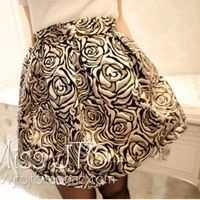 wild roses ornate gold imitation silk skirt new autumn and winter
