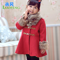 Female winter child 2013 plus velvet thickening outerwear quality fur collar woolen overcoat