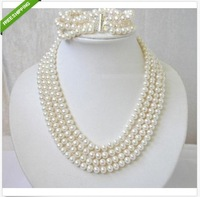 Four rows genuine 8-9mm Australian south sea white pearl necklace bracelet