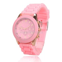 Lady Jelly Candy Color Wrist Watch Quartz Silicon Watchband Round Dial Pink hv3n