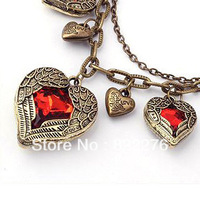 24pcs/Lot Wholesale Vintage wings angel Ruby Heart pendant Necklace Antique bronze plated necklace A026