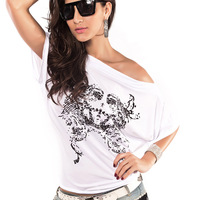 2014 Summer New Fashion Sexy Tops T-shirts For Women Batwing Short Sleeve T-shirt  Women Slim Tees Free Size White Colour