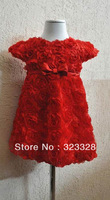 2014 fashion kids/children party or wedding dresses,beautiful princess girl brand red dress with rose flowers for free shipping