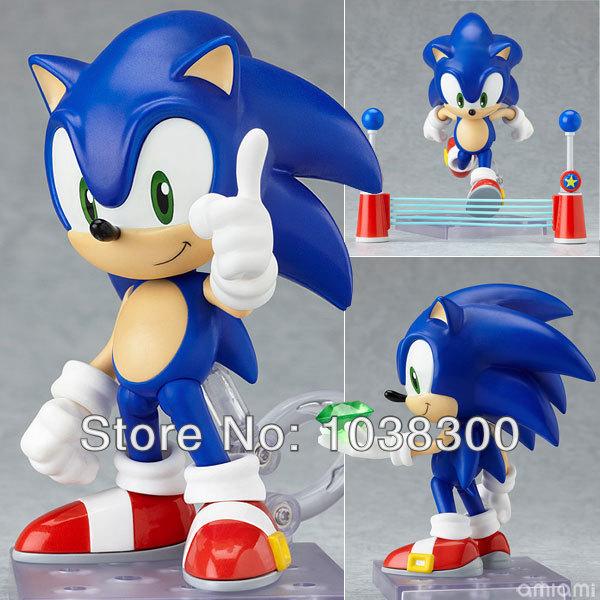 Hedgehog Sonic 1pcs 4'' 10cm Cute Funny Blue the Hedgehog Cute Vivid Nendoroid Series PVC Figure Toy PV8070(China (Mainland))