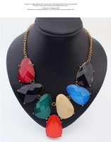 Min.Order $15 (Mix Wholesale) Factory Outlet Jewelry, Europe Oval Semi-precious Stone Style Women Alloy Necklaces,N498