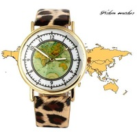 free shipping NEW Fashion Green Mape on Watch Head with Leopard Print Band Watches