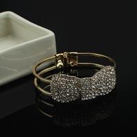 Free shipping 2014 Fashion Jewelry Wholesale Crystal Rinestone Bow Cuff Bangle Bracelet  Women