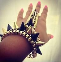 Stunning Gold Black Spike Chains Hand Harness Bracelet Bangle Ring Punk Punk Emo