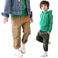 Knitting rib waist of trousers 100% cotton male child skinny pants big children's clothing casual trousers spring and autumn
