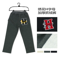 Embroidered letter child trousers thickening male child trousers spring and autumn baby plus velvet trousers children's clothing