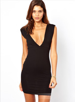 Europe autumn new women sexy slim V-neck dress Slim package hip vest dress