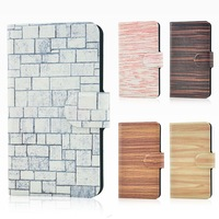 Wholesale,New colorful Street graffiti wall wood design leather PU flip case cover for TCL S520